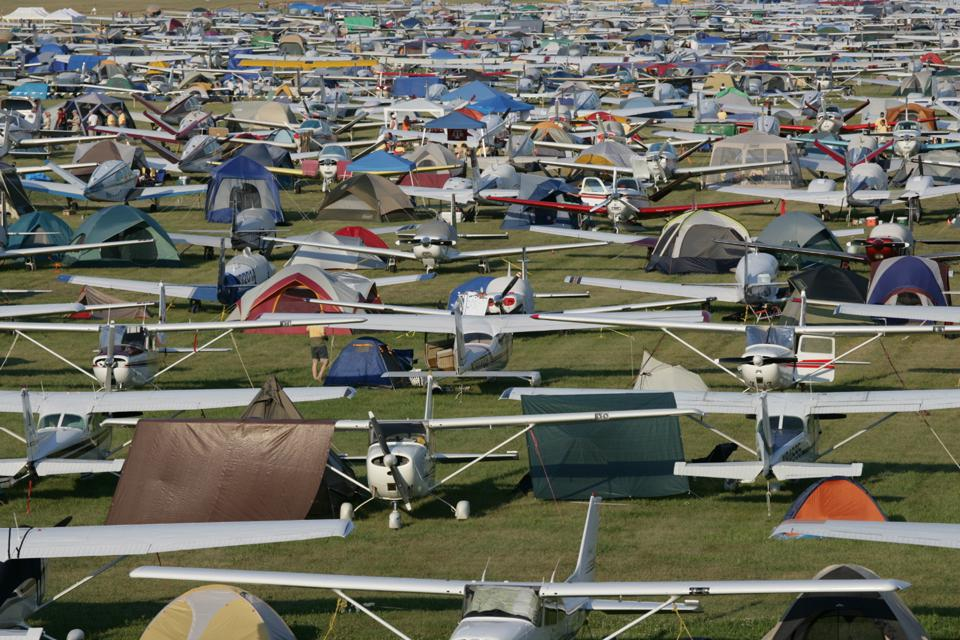 General avaition airplanes on the field a for the EAA AirVenture convention.