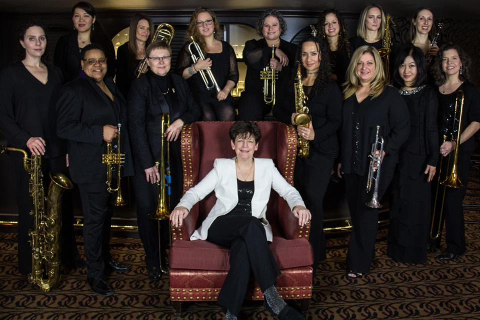 The 15-member DIVA Jazz Orchestra with bandleader Sherrie Maricle in white jacket