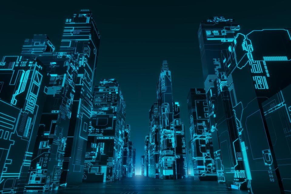 Glowing futuristic city - landscape