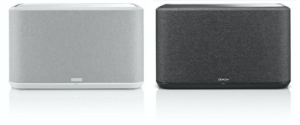 A black and white Denon Home 350 wireless speaker