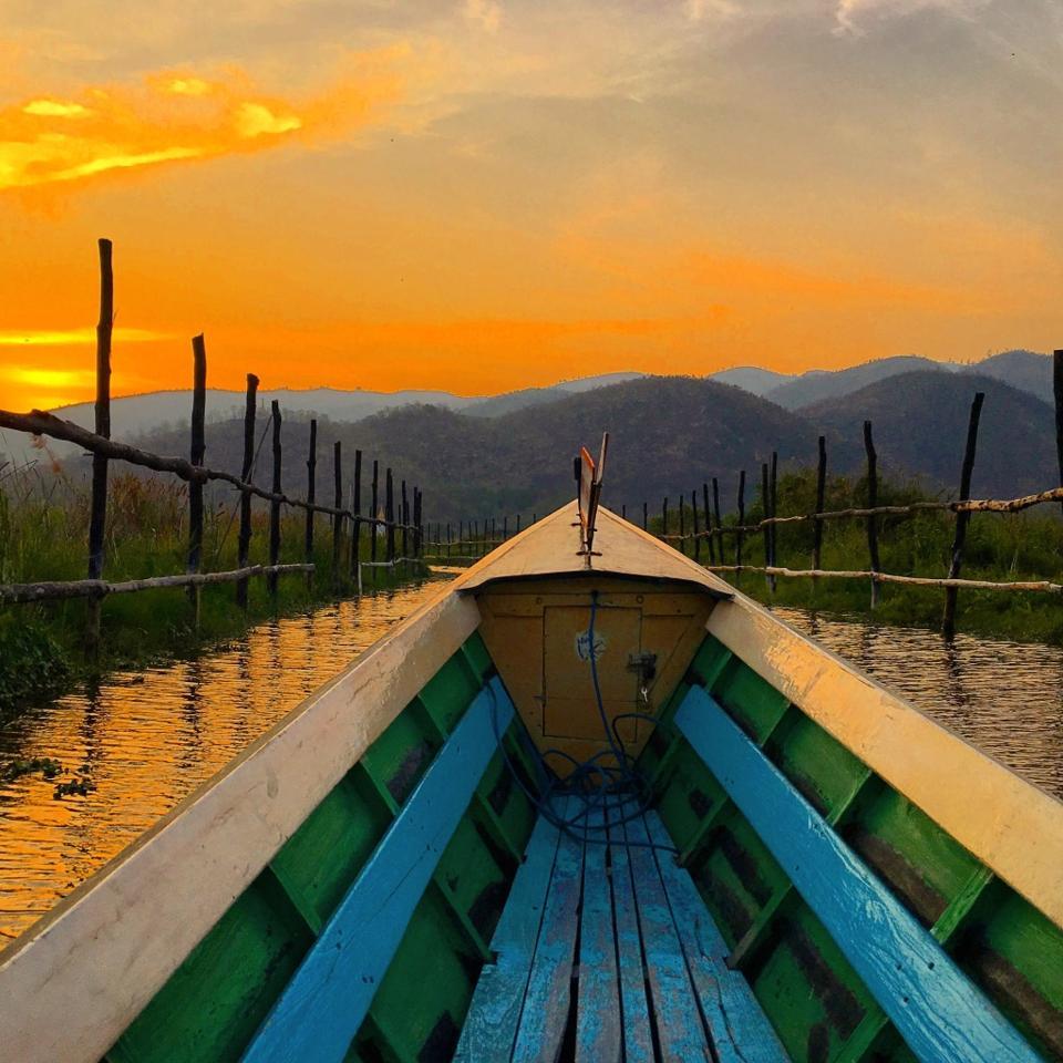 boat in canal, myammar