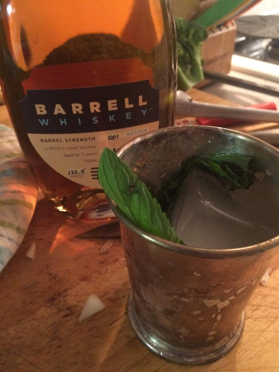 Barrell Whiskey out of my terribly unpolished mint julep cup
