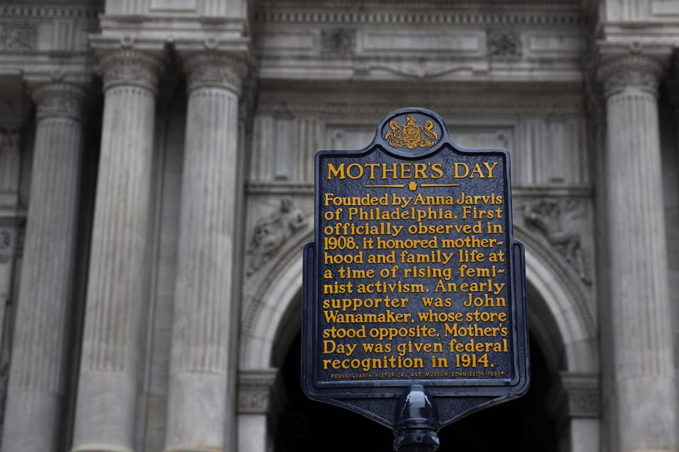 The Mother's Day Historical Plaque is located in front of Philadelphia's City Hall. The plaque notes the contribution by department store operator John Wanamaker.