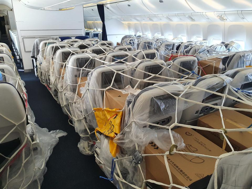 PPE cargo is carried in the cabin of a British Airways 777 from Shanghai to London