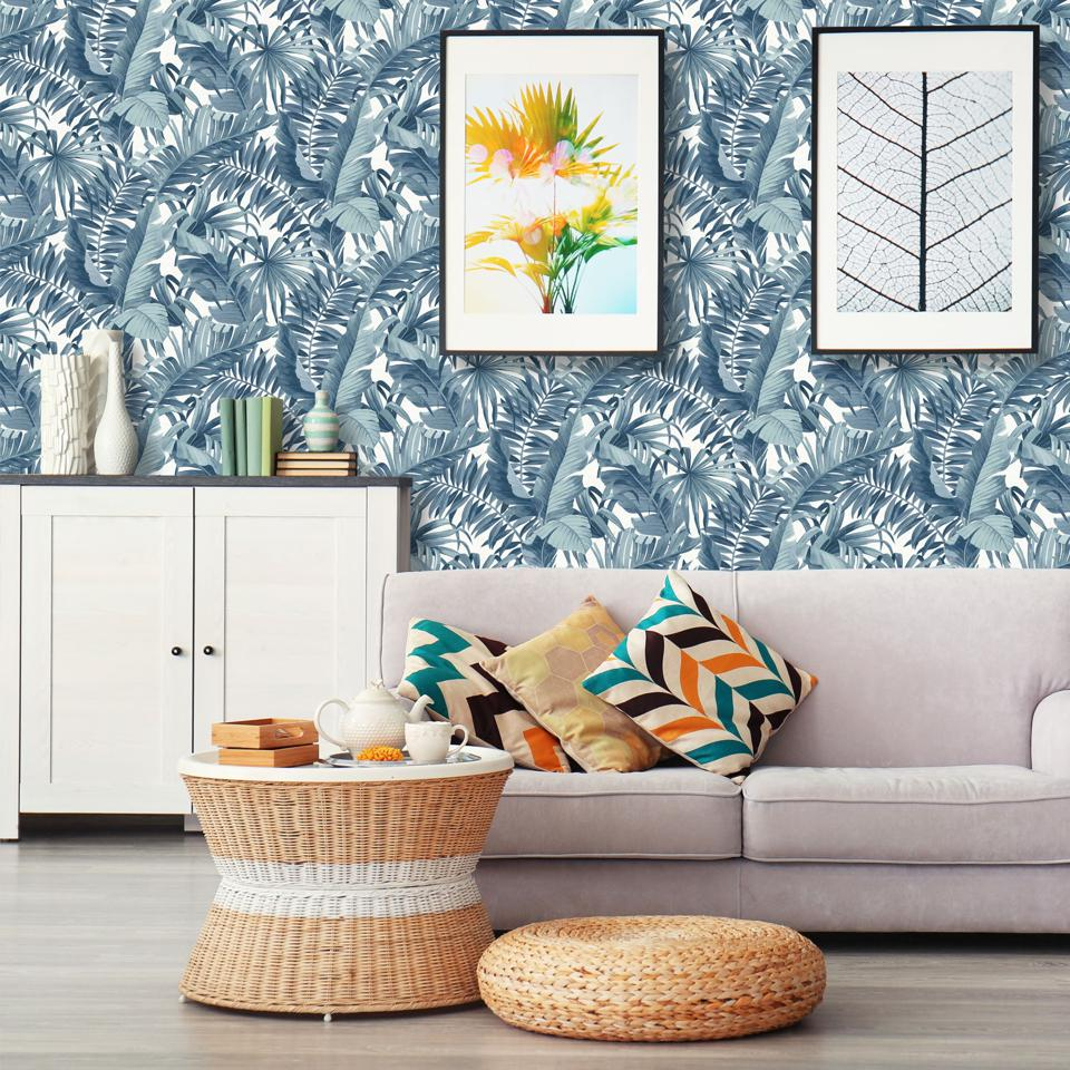 A living room with A-Street Prints wallpaper.