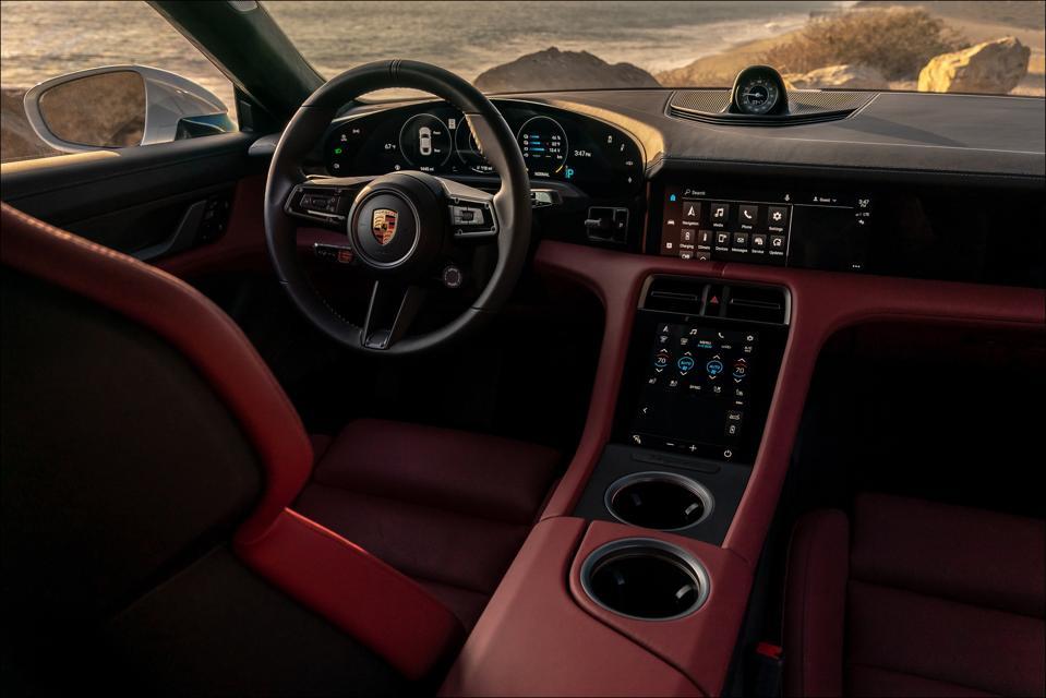Porsche Taycan Turbo S cockpit.