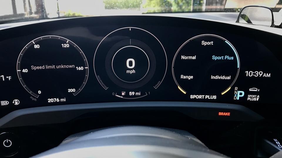 Porsche Taycan Turbo S digital gauges.
