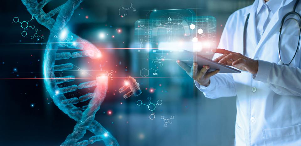 Abstract luminous DNA molecule. Doctor using tablet and check with analysis chromosome DNA genetic of human on virtual interface. Medicine. Medical science and biotechnology.