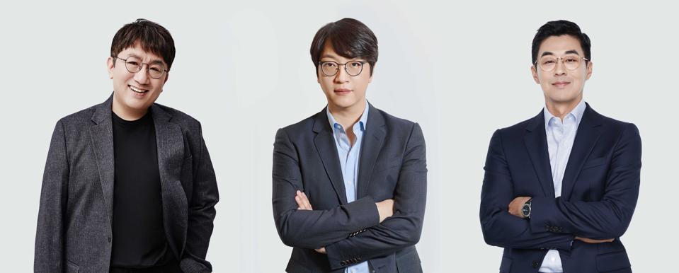 Big Hit Entertainment's Bang, Yoon, and Park.