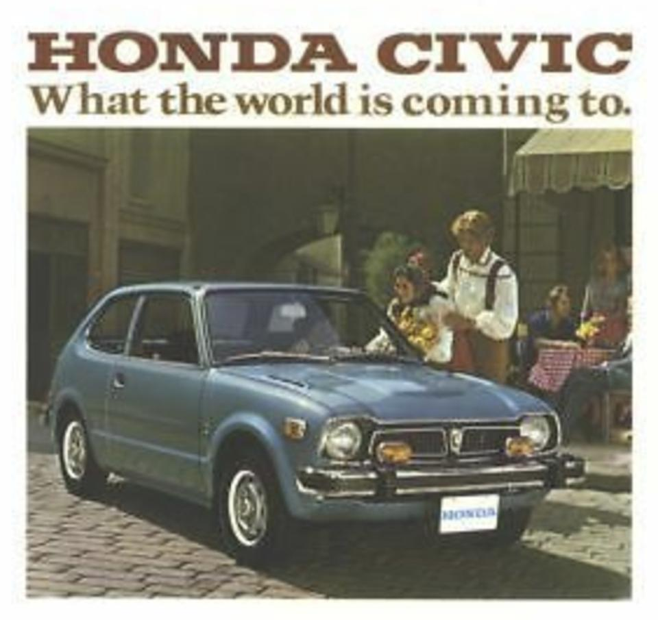 A cover of the 1975 Honda Civic product brochure.