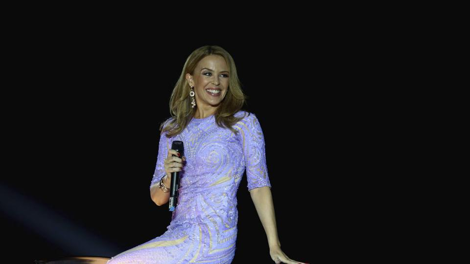 A custom Michael Cinco dress worn by Kylie MInogue