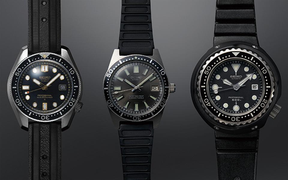 The original trio of Seiko diver's watches, launched in 1965, 1968 and 1975.