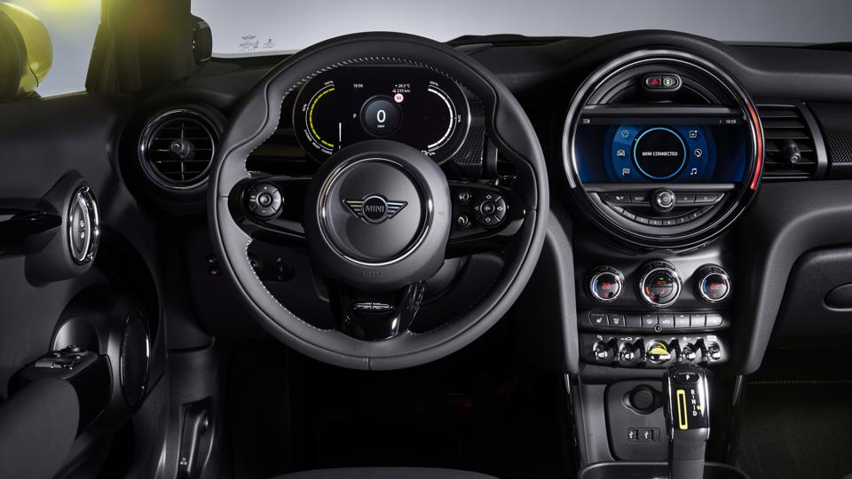 As with the rest of the line, the Mini Cooper SE's cabin is distinctively styled.