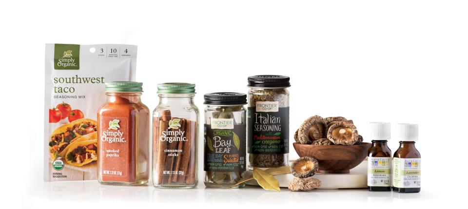 Products sold under the Frontier Co-op, Aura Cacia and Simply Organic brands.
