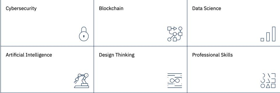 a chart with the six areas of Open P-TECH curriculum Cybersecurity, Blockchain, Data Science, AI, Design Thinking and Professional Services