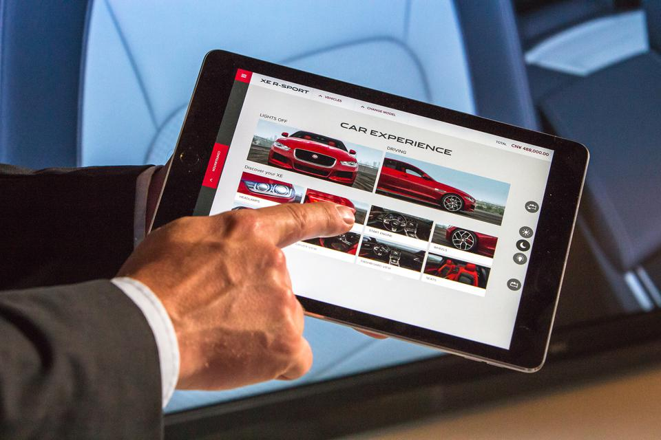 Virtual showrooms are used to present a vehicle and optional features remotely