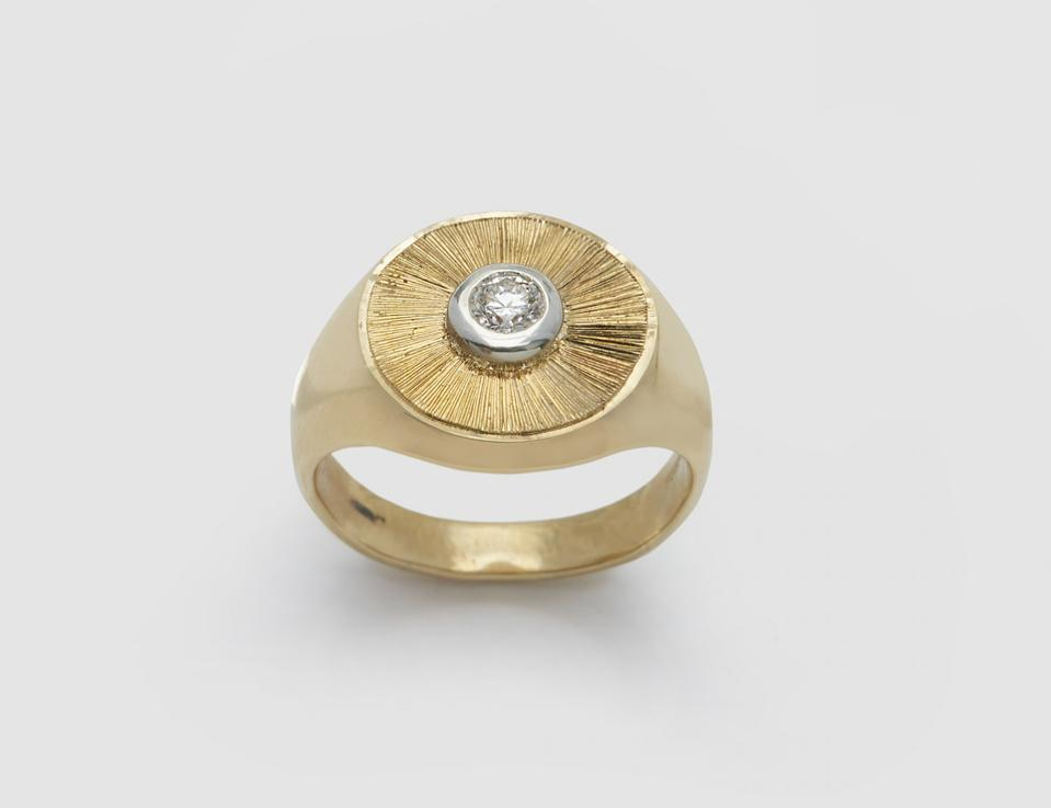 Gold Disc Signet Ring by Duffy: