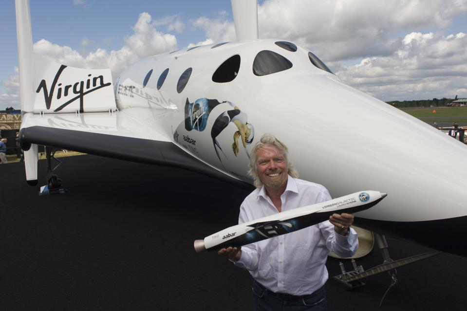 UK - Farnborough - Sir Richard Branson with Virgin Galactic's SpaceShipTwo (SS2)
