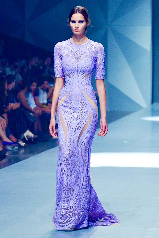 Lavender stretch gown the laser cutout details by Michael Cinco
