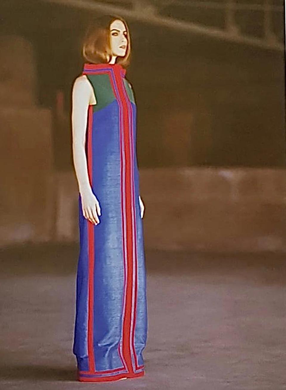 A Lee Aguinaldo Inspired column dress in dupioni silk and crepe by Jojie Lloren