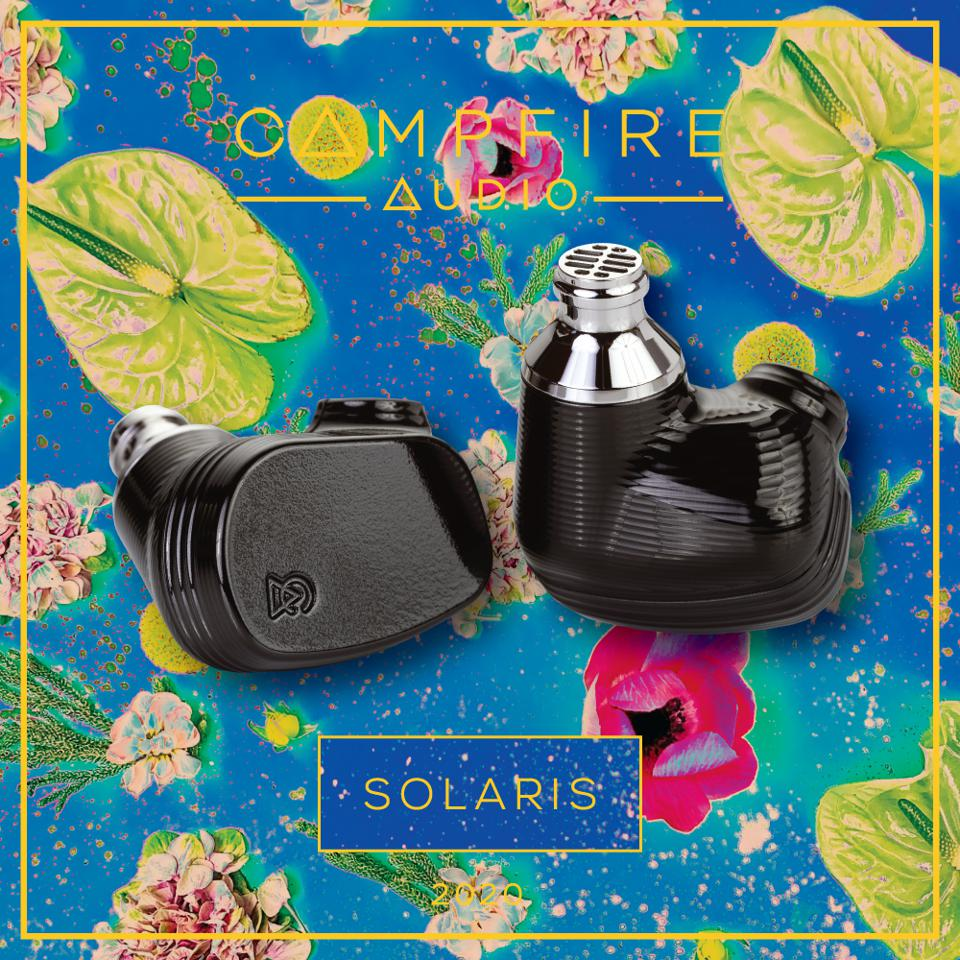 Solaris earphones from Campfire Audio on box with colorful artwork