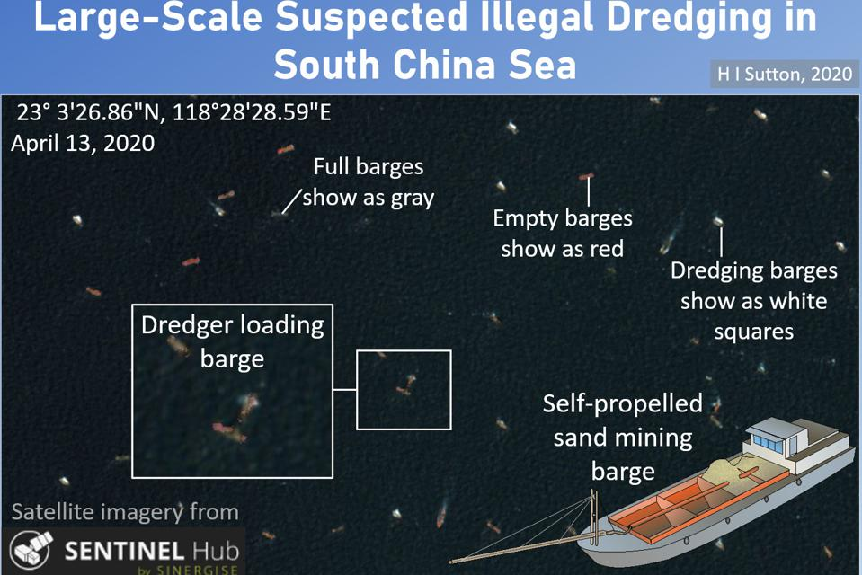 Suspected illegal dredgers mining sand, China