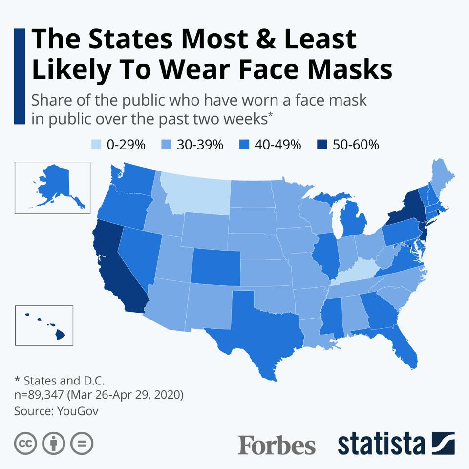 The States Most & Least Likely To Wear Face Masks