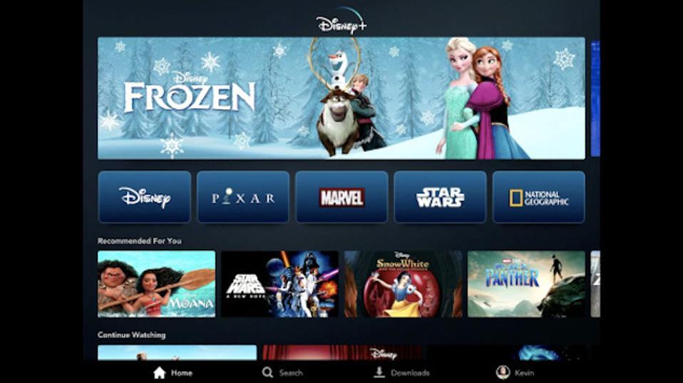 Disney+ home screen.
