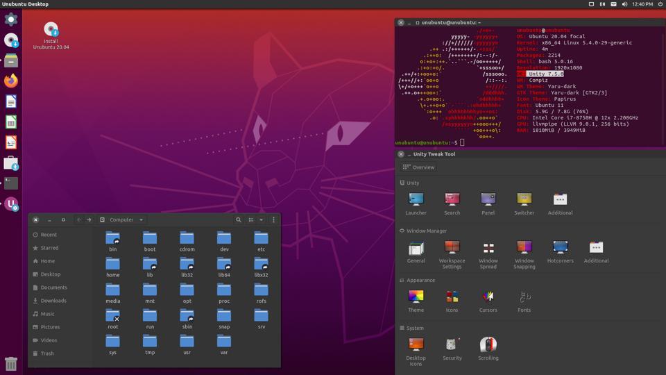 Ubuntu Unity Remix 20.04 with File Manager and Unity Tweak Tool