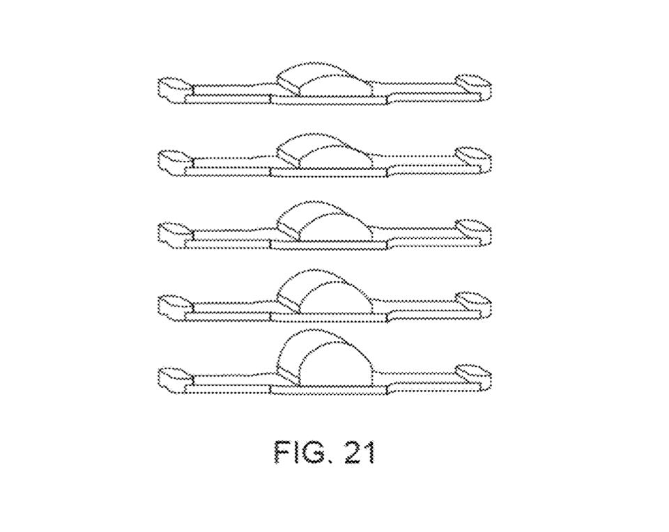 A series of ″curved capacitive sensor arrays″ shown in the Apple patent