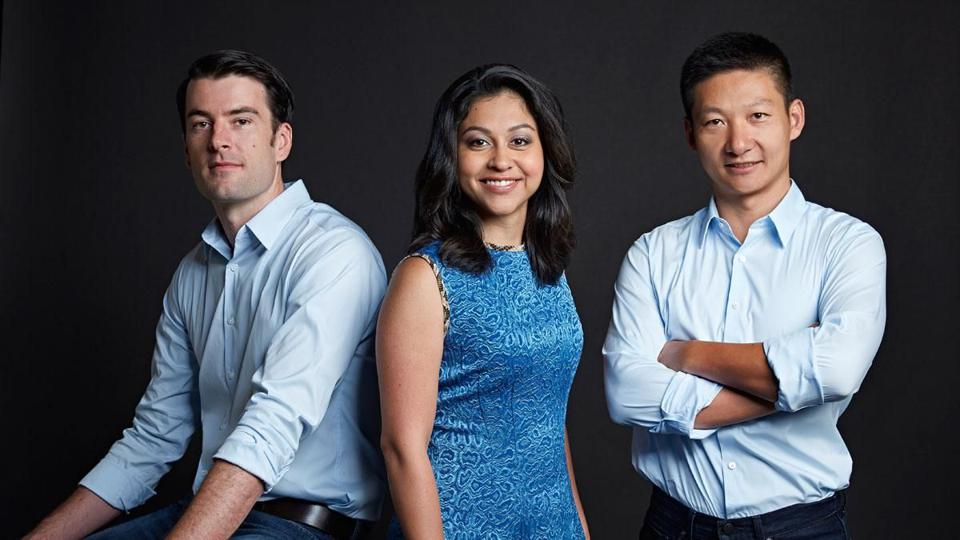Confluent co-founders Jay Kreps (left), Neha Narkhede (center), and Jun Rao (right).