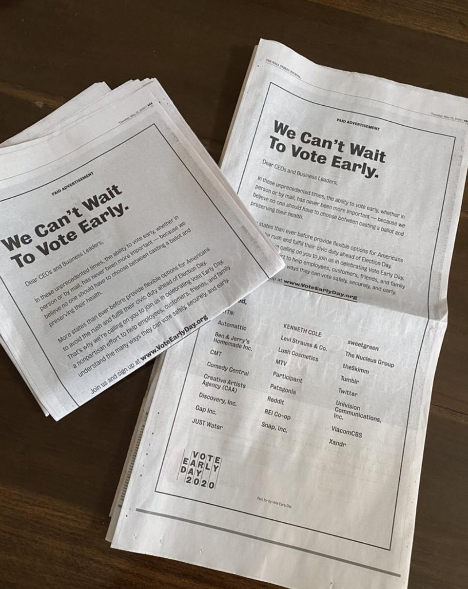 The Vote Early Day WSJ ad