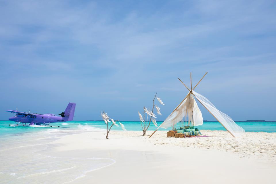 seaplane and beach