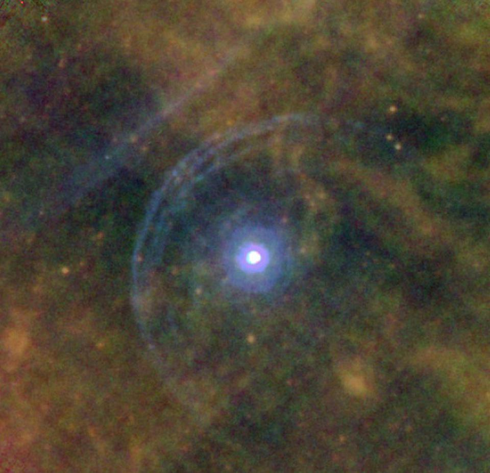 This 2012 infrared image of Betelgeuse by the orbiting Herschel telescope shows two shells of interacting matter on one side of the star.