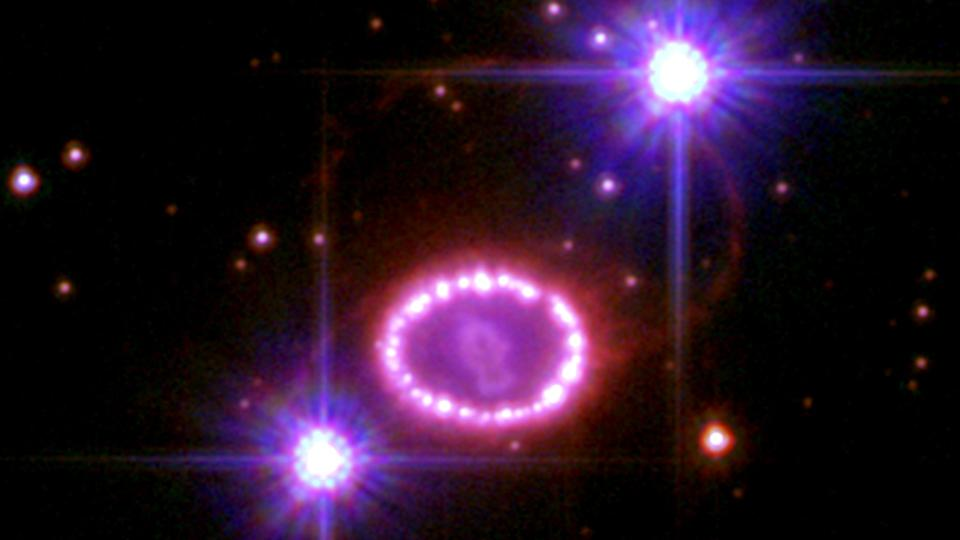 The expanding remnant of SN 1987A, a Type II-P supernova in the Large Magellanic Cloud.