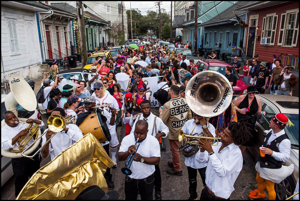 Krewe of Red Beans parade on Lundi Gras, marches on streets in New Orleans