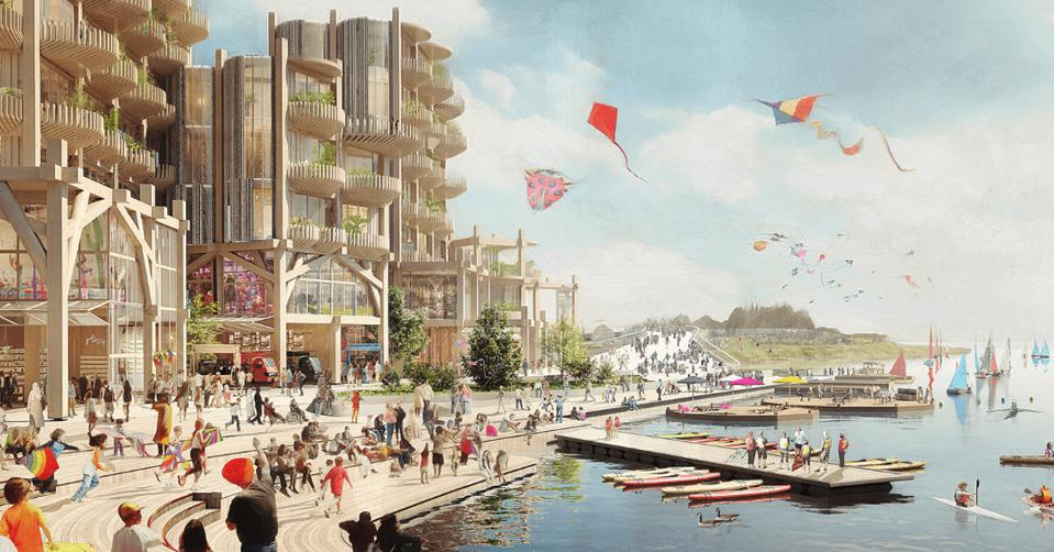 An artist's conception of the waterfront development in Google's Smart Cities project in Toronto.