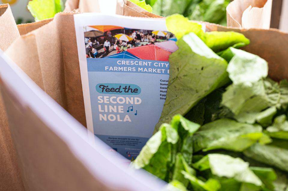 Food from farmer's market for Feed the Second Line Nola