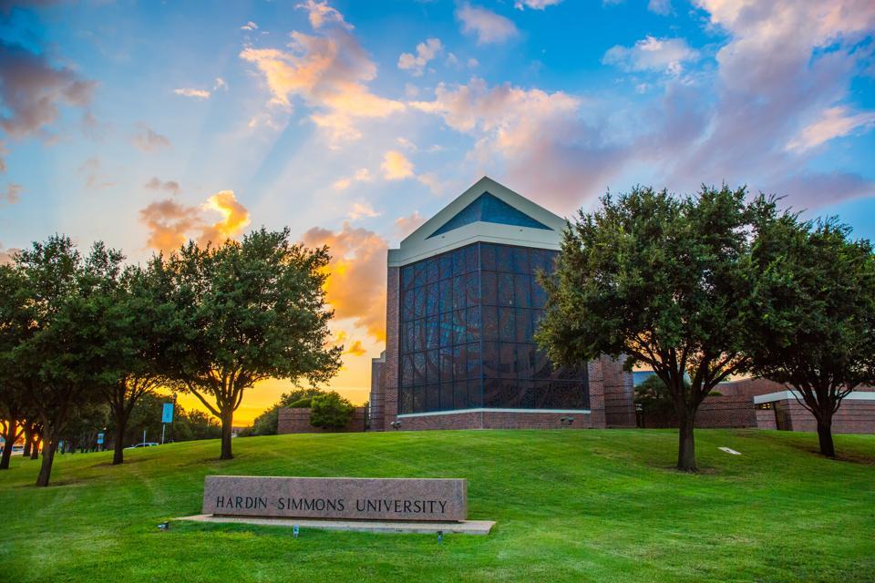 Hardin-Simmons University campus at sunset.