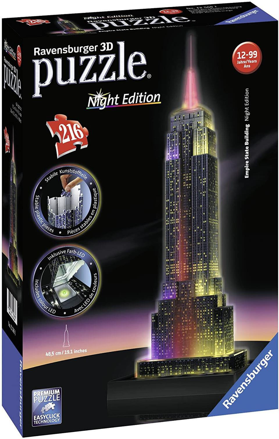 Ravensburger Empire State Building - Night Edition - 216 Piece 3D Jigsaw Puzzle for