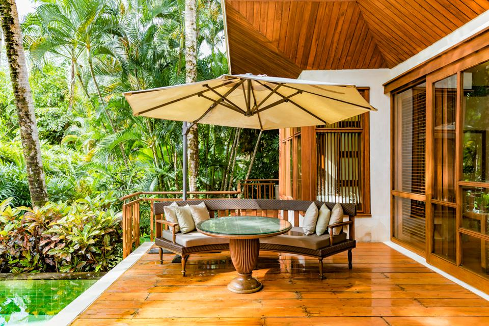Bali, Indonesia - View of an outdoor space at a villa at the Four Seasons Sayan