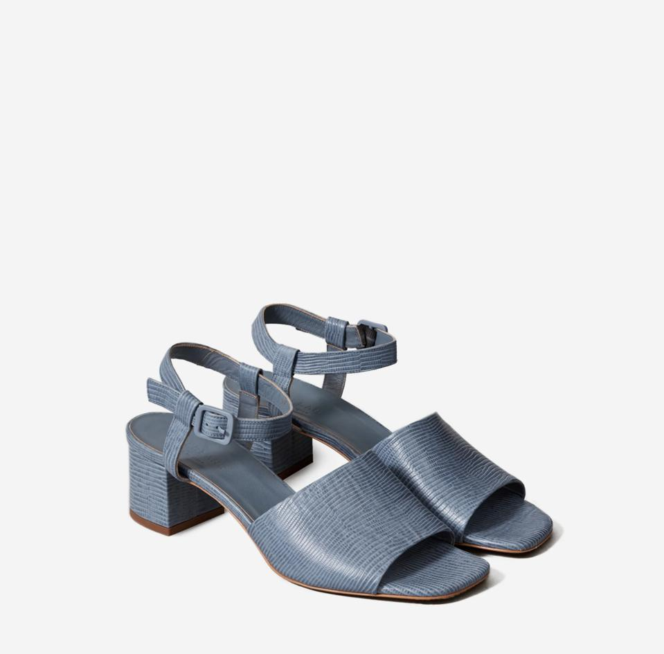 Block heel sandals with an ankle strap