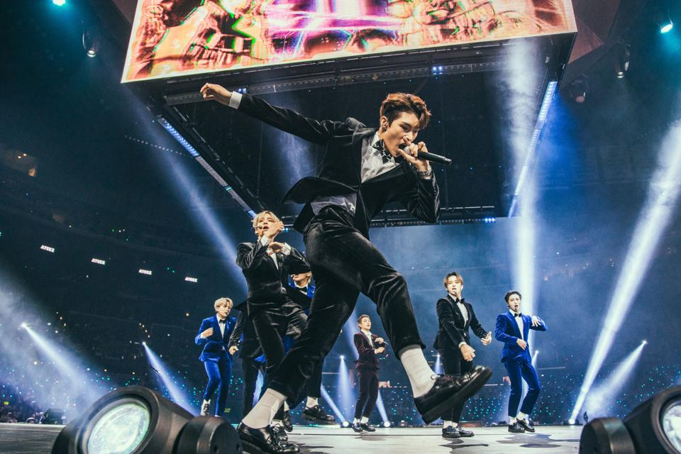 K-pop boy band group ATEEZ performs at KCON 2019 in Los Angeles at the Staples Center.