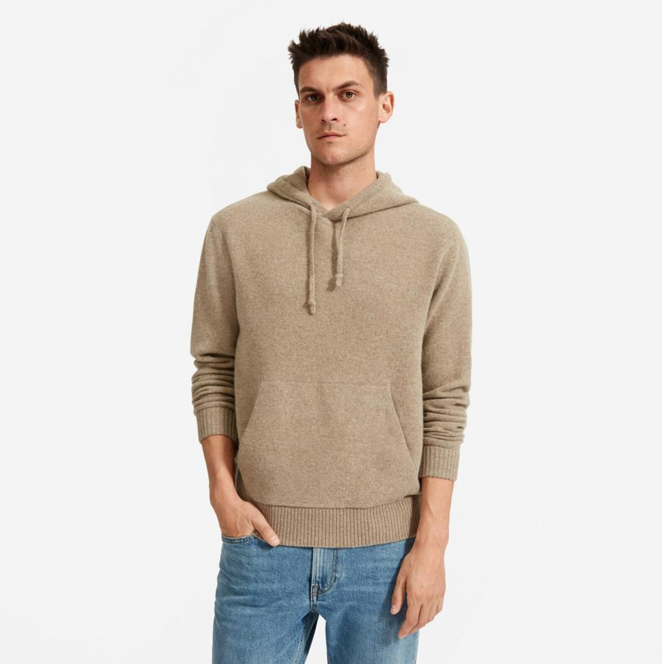 A man in a camel hoodie