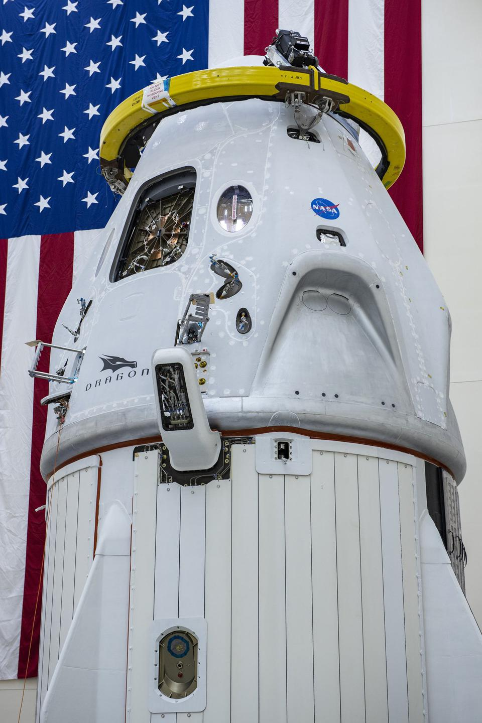 The SpaceX Crew Dragon capsule at Cape Canaveral.