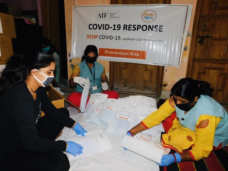 Volunteers helping.