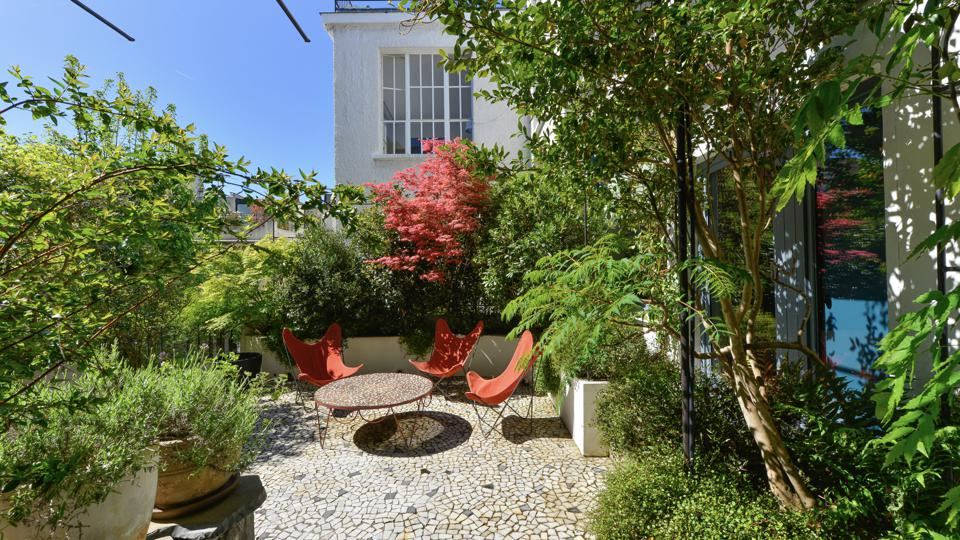 The property's plant-filled, sunny terrace