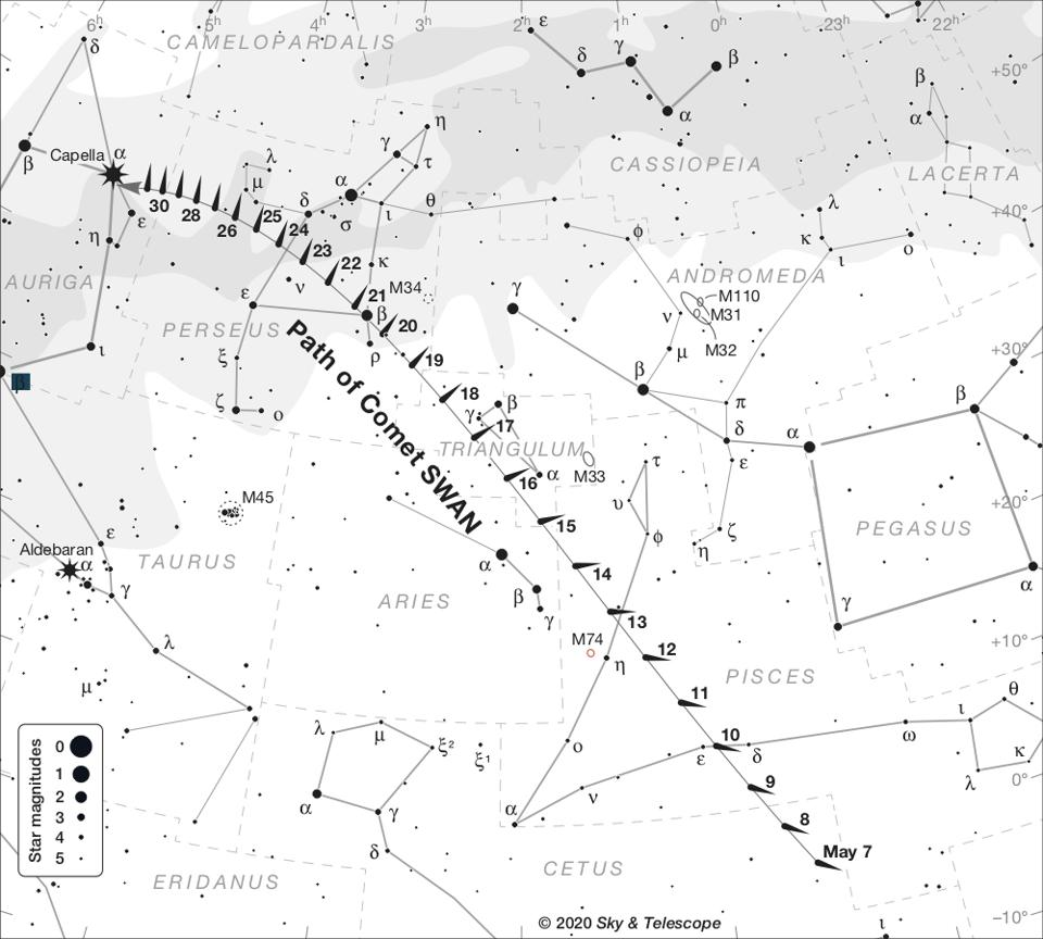 Sky & Telescope magazine's printable Comet SWAN finder sky chart (used with permission).