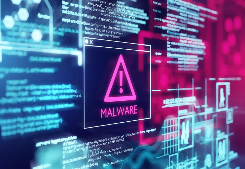 Malware detected warning screen.
