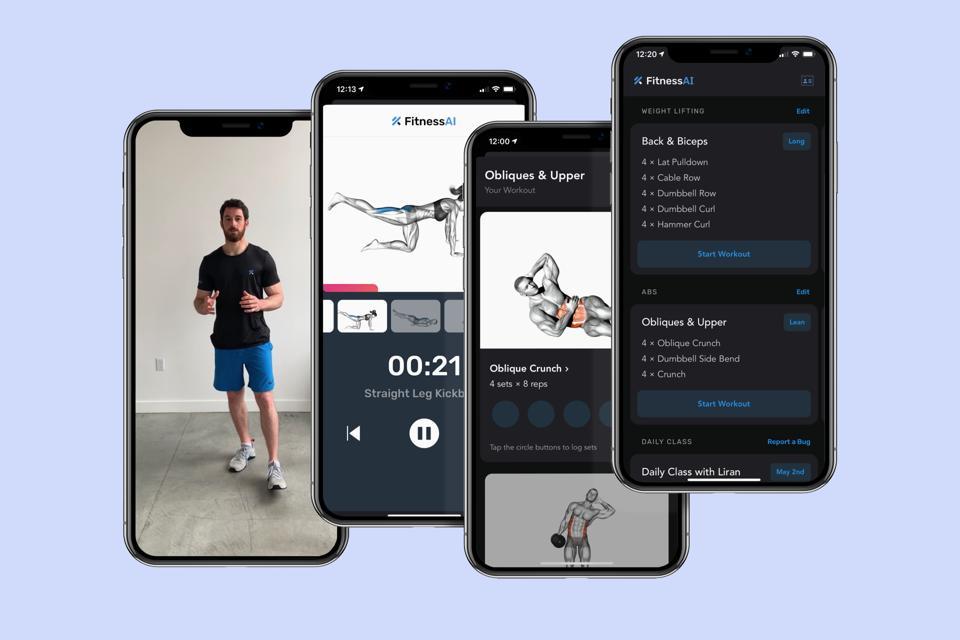 Screenshots from FitnessAI app.